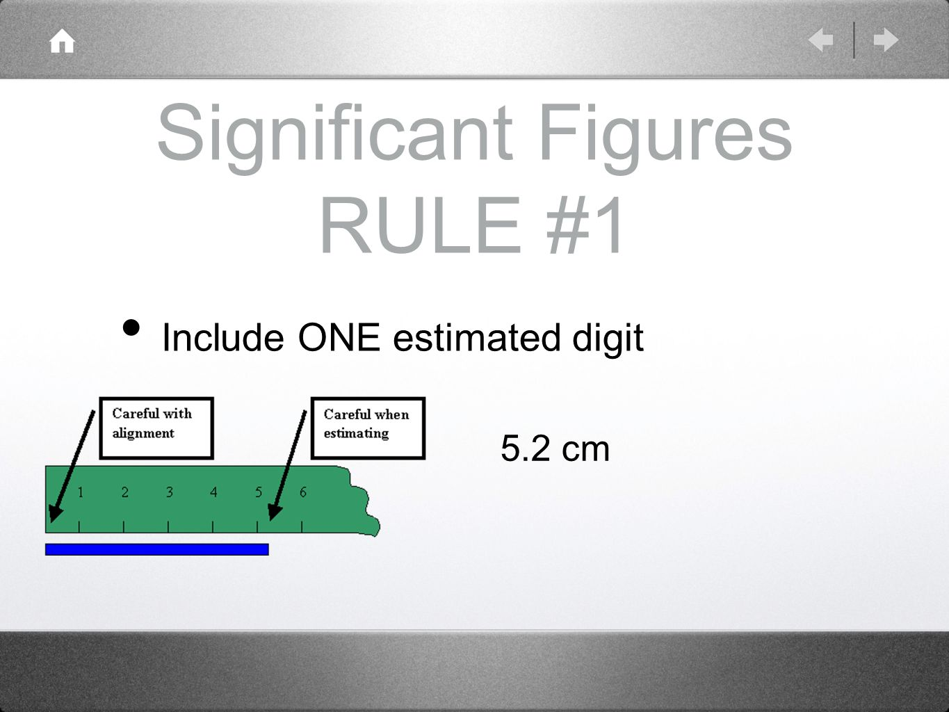 Significant Figures RULE #1 Include ONE estimated digit 5.2 cm