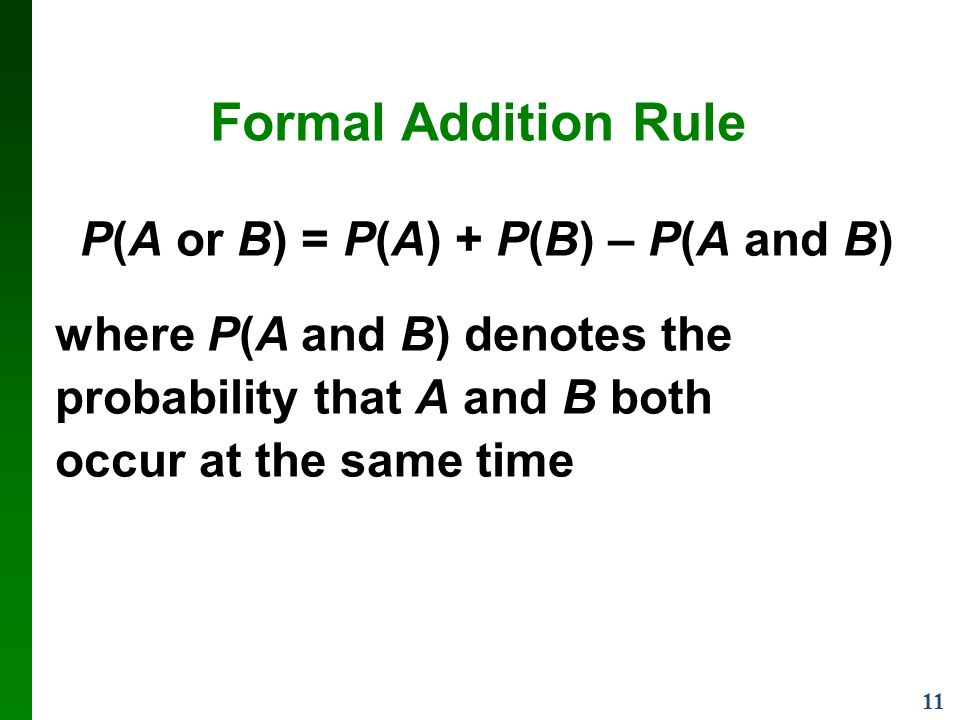 11 Formal Addition Rule P(A or B) = P(A) + P(B) – P(A and B) where P(A and B) denotes the probability that A and B both occur at the same time