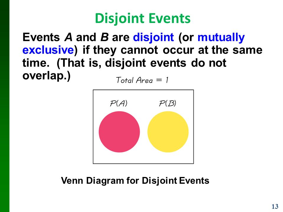 13 Disjoint Events Events A and B are disjoint (or mutually exclusive) if they cannot occur at the same time.