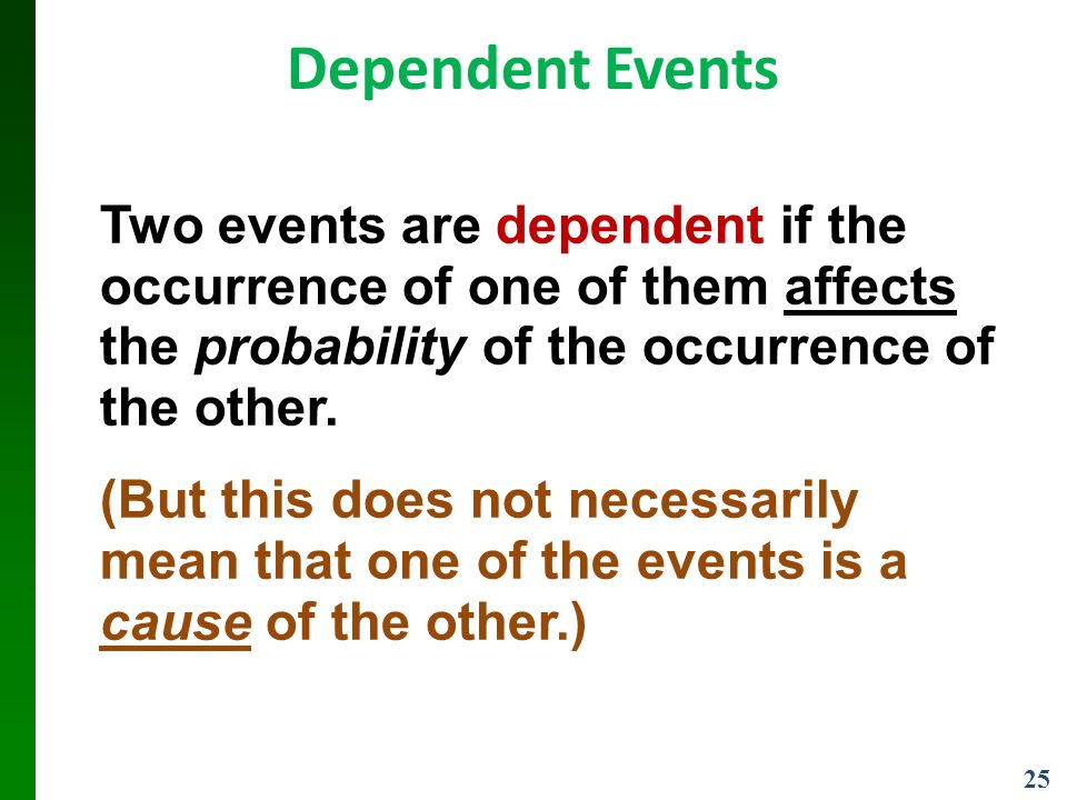 25 Dependent Events Two events are dependent if the occurrence of one of them affects the probability of the occurrence of the other.
