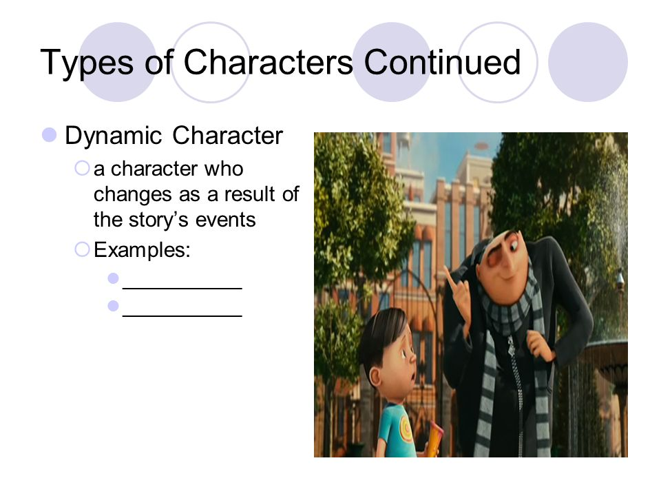 Types of Characters Continued Dynamic Character  a character who changes as a result of the story's events  Examples: ___________