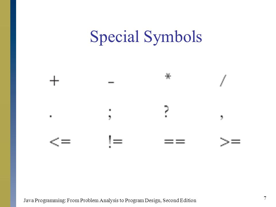 Java Programming: From Problem Analysis to Program Design, Second Edition 7 Special Symbols