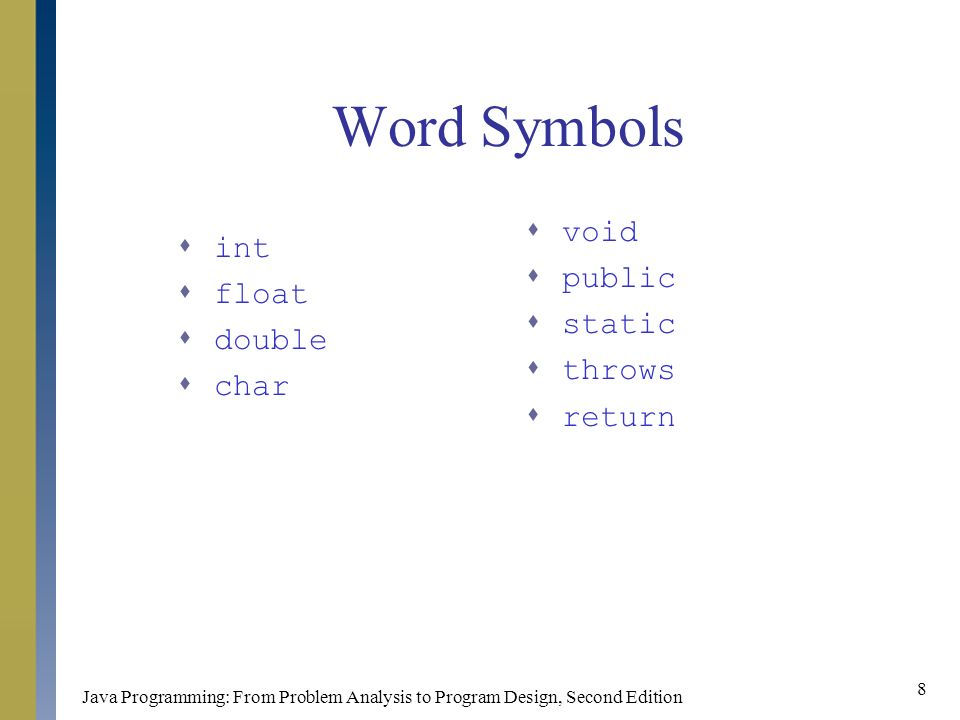 Java Programming: From Problem Analysis to Program Design, Second Edition 8 Word Symbols  int  float  double  char  void  public  static  throws  return