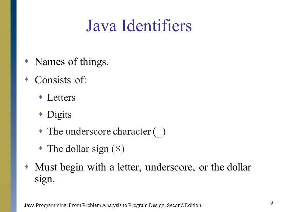 Java Programming: From Problem Analysis to Program Design, Second Edition 9 Java Identifiers  Names of things.