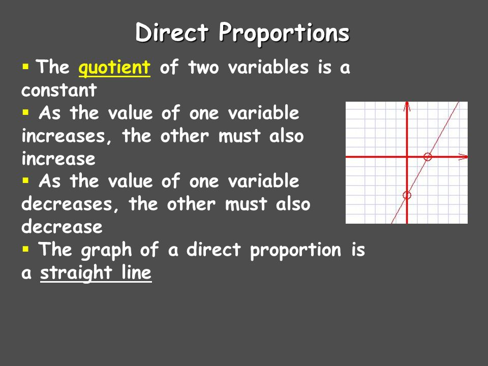 Direct Proportions  The quotient of two variables is a constant  As the value of one variable increases, the other must also increase  As the value of one variable decreases, the other must also decrease  The graph of a direct proportion is a straight line
