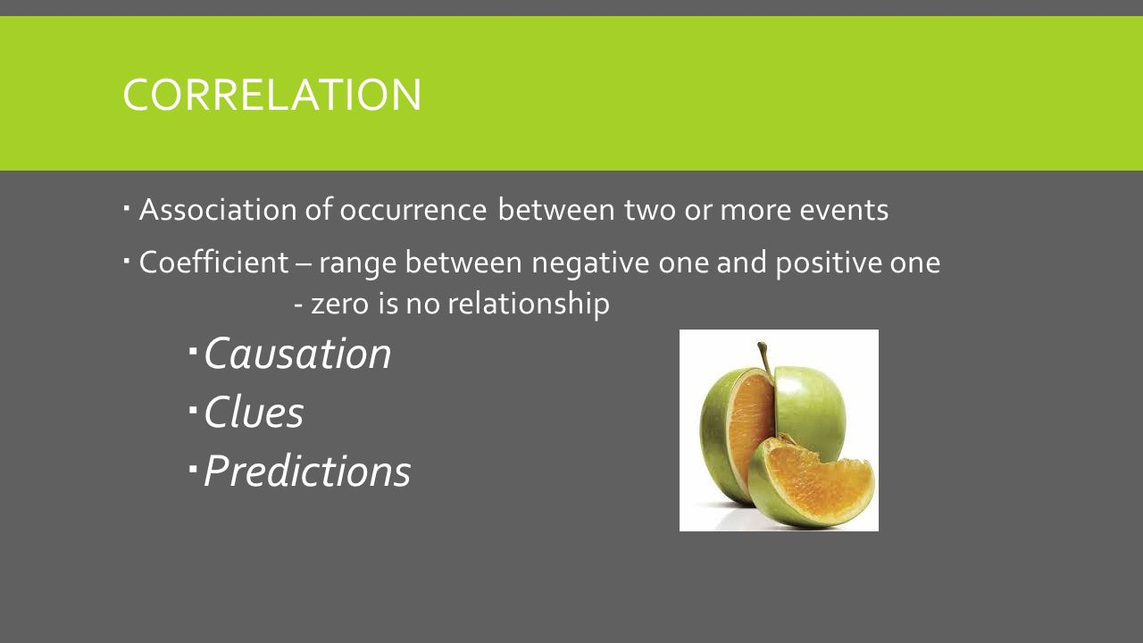 CORRELATION  Association of occurrence between two or more events  Coefficient – range between negative one and positive one - zero is no relationship  Causation  Clues  Predictions