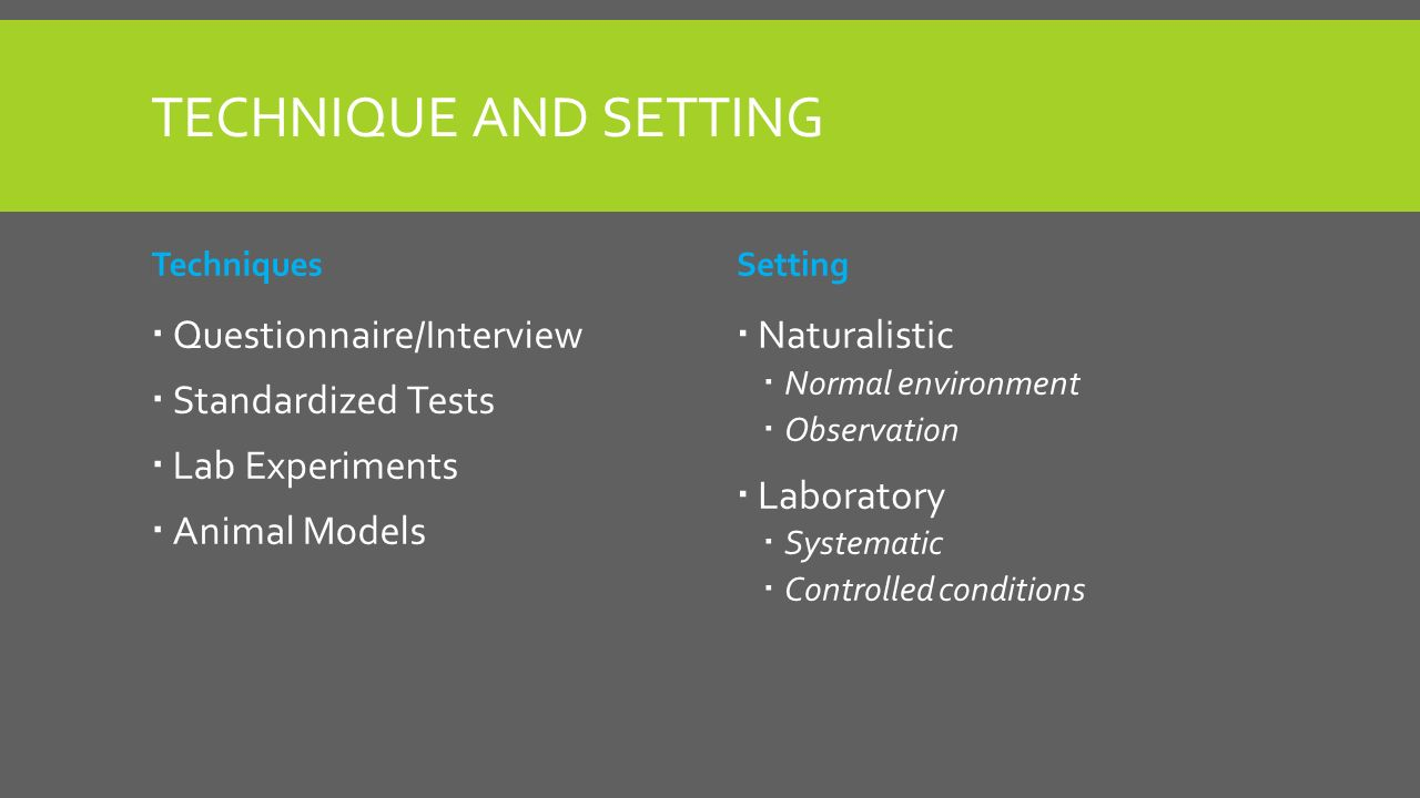 TECHNIQUE AND SETTING Techniques  Questionnaire/Interview  Standardized Tests  Lab Experiments  Animal Models Setting  Naturalistic  Normal environment  Observation  Laboratory  Systematic  Controlled conditions