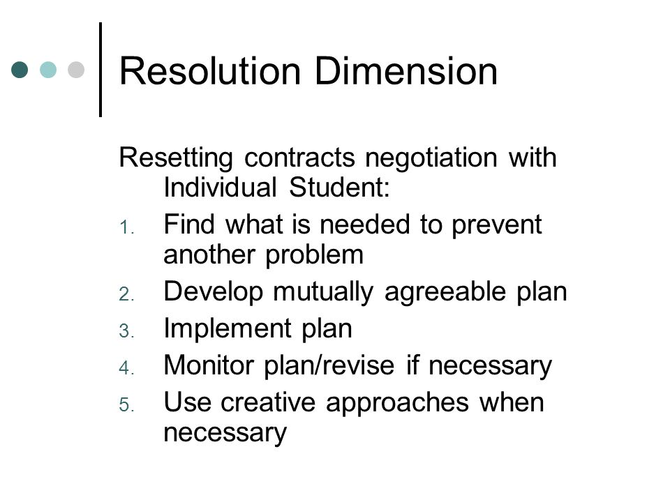 Resolution Dimension Resetting contracts negotiation with Individual Student: 1.