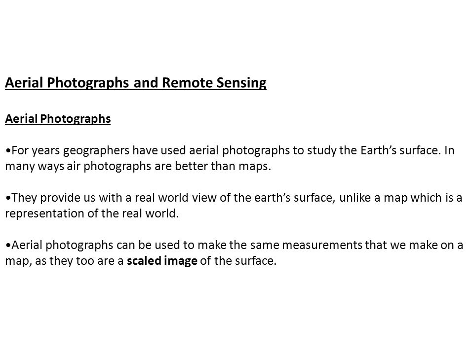 Aerial Photographs and Remote Sensing Aerial Photographs For