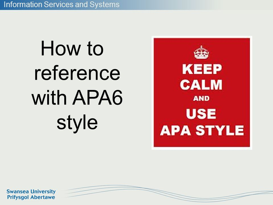 information services and systems how to reference with apa6 style