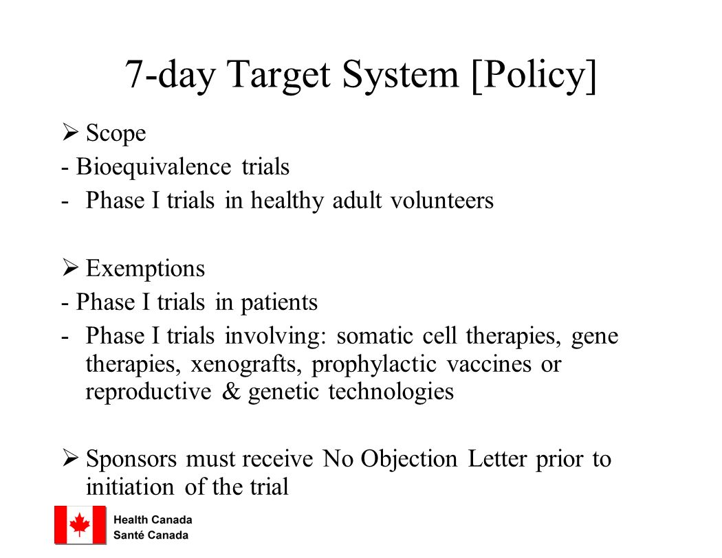 7-day Target System [Policy]  Scope - Bioequivalence trials -Phase I trials in healthy adult volunteers  Exemptions - Phase I trials in patients -Phase I trials involving: somatic cell therapies, gene therapies, xenografts, prophylactic vaccines or reproductive & genetic technologies  Sponsors must receive No Objection Letter prior to initiation of the trial