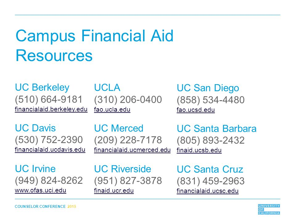 The Real Cost of UC: Financial Aid for UC Counselor Conference