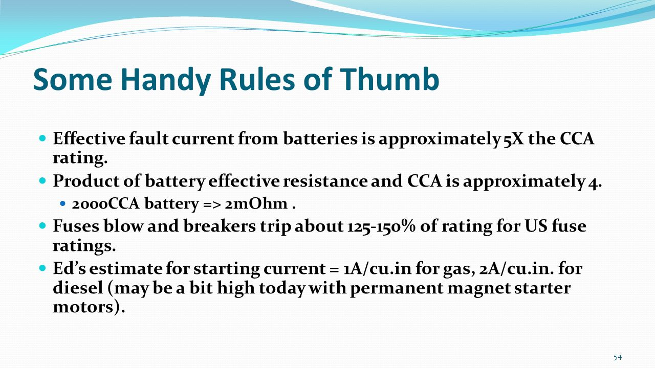 Presented By Wayne Kelsoe Blue Sea Systems Ed Sherman American Seas Ac Circuit Breakers Alternating Current Are Some Handy Rules Of Thumb Effective Fault From Batteries Is Approximately 5x The Cca Rating