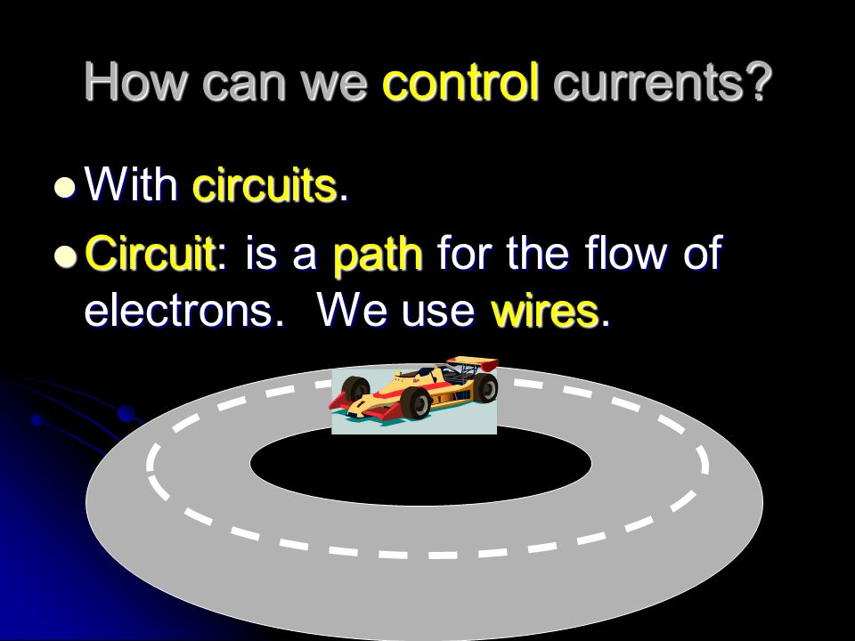 Electricity that moves… Current: The flow of electrons from one place to another.