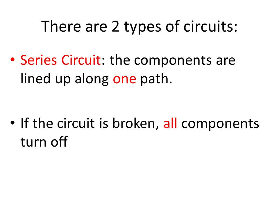 There are 2 types of currents: Alternating Current (AC) different Alternating Current (AC) – electrons flow in different directions in a wire
