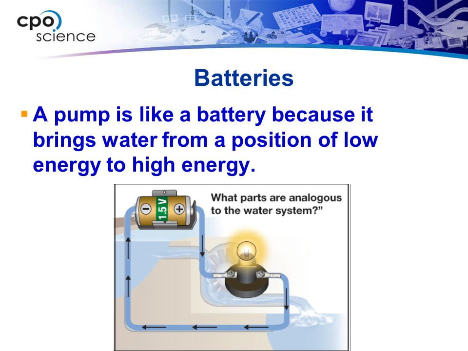 Batteries  A pump is like a battery because it brings water from a position of low energy to high energy.