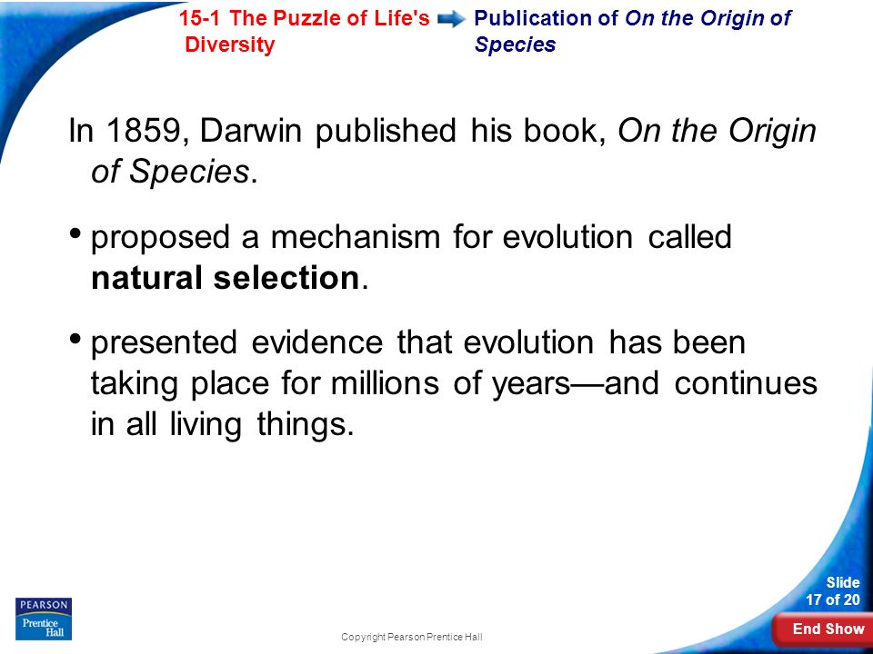 End Show 15-1 The Puzzle of Life s Diversity Slide 17 of 20 Copyright Pearson Prentice Hall Publication of On the Origin of Species In 1859, Darwin published his book, On the Origin of Species.