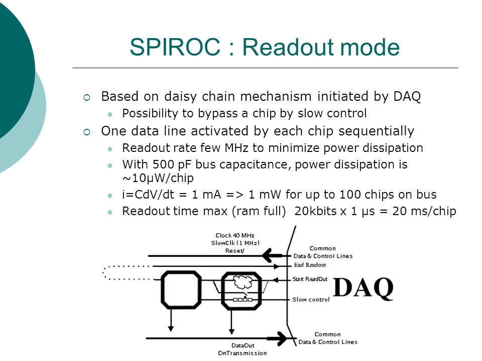 SPIROC : Readout mode  Based on daisy chain mechanism initiated by DAQ Possibility to bypass a chip by slow control  One data line activated by each chip sequentially Readout rate few MHz to minimize power dissipation With 500 pF bus capacitance, power dissipation is ~10µW/chip i=CdV/dt = 1 mA => 1 mW for up to 100 chips on bus Readout time max (ram full) 20kbits x 1 µs = 20 ms/chip