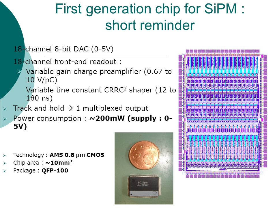 First generation chip for SiPM : short reminder  18-channel 8-bit DAC (0-5V)  18-channel front-end readout :  Variable gain charge preamplifier (0.67 to 10 V/pC)  Variable tine constant CRRC 2 shaper (12 to 180 ns)  Track and hold  1 multiplexed output  Power consumption : ~200mW (supply : 0- 5V)  Technology : AMS 0.8 m CMOS  Chip area : ~10mm ²  Package : QFP-100