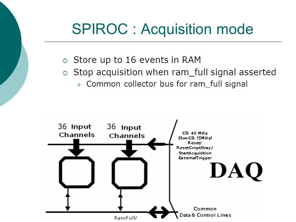 SPIROC : Acquisition mode  Store up to 16 events in RAM  Stop acquisition when ram_full signal asserted Common collector bus for ram_full signal 36