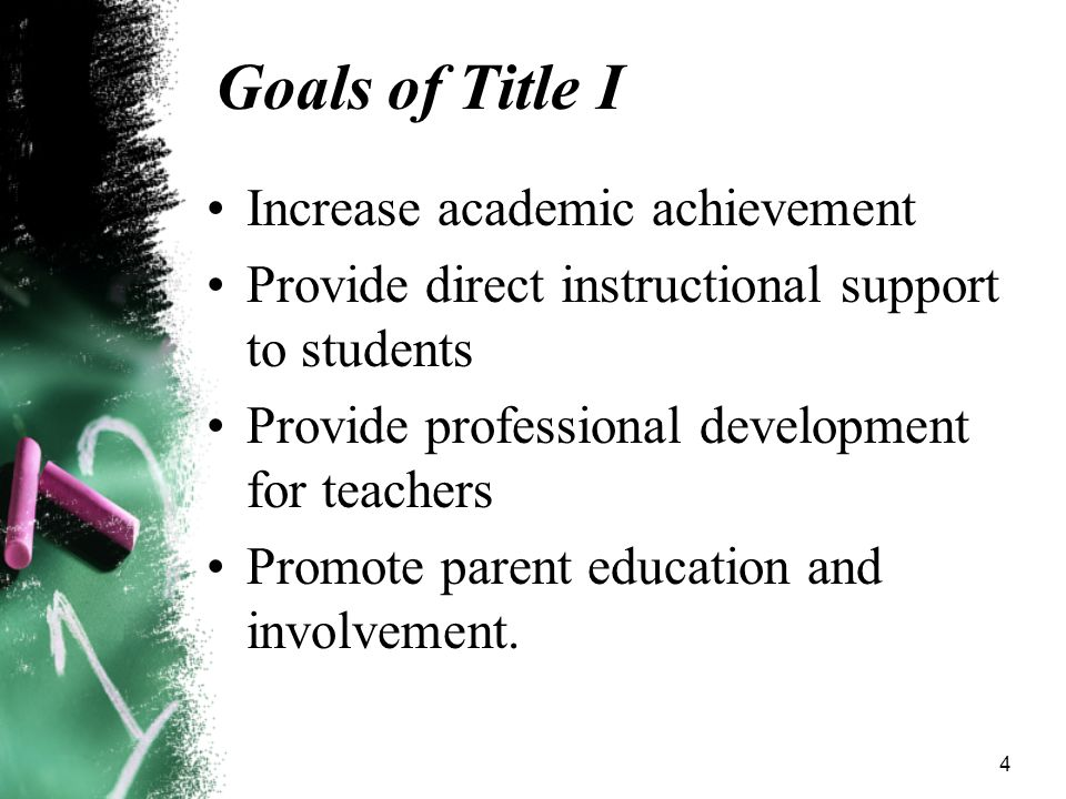 4 Goals of Title I Increase academic achievement Provide direct instructional support to students Provide professional development for teachers Promote parent education and involvement.
