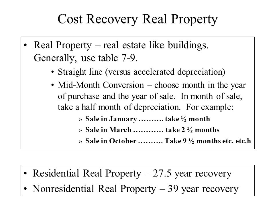 cost recovery personal property tangible personal business