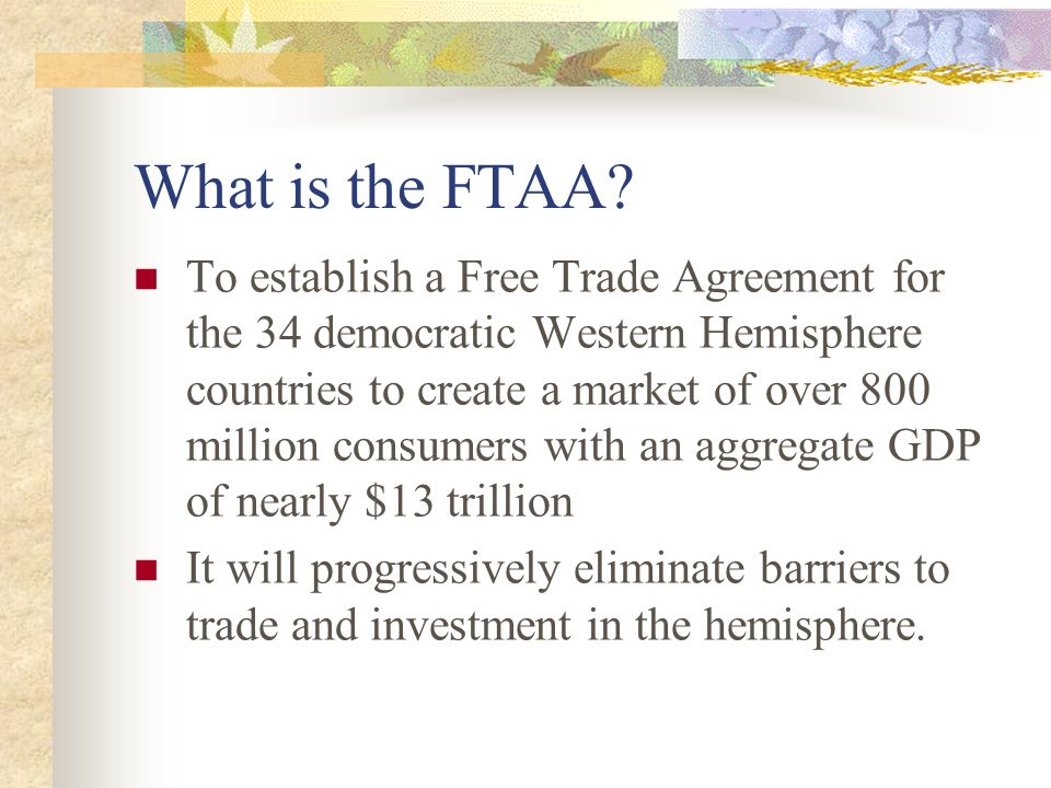 Trade Effects Of The Free Trade Area Of The Americas Won Koo