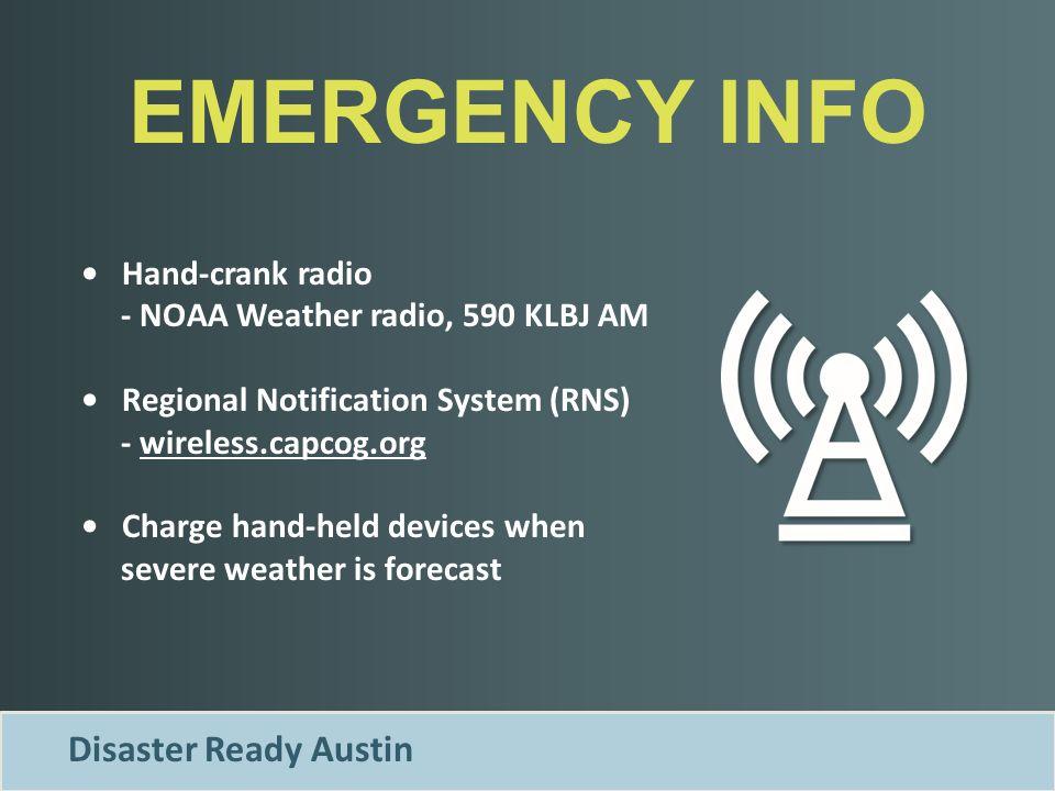 21 EMERGENCY INFO Disaster Ready Austin Hand Crank Radio