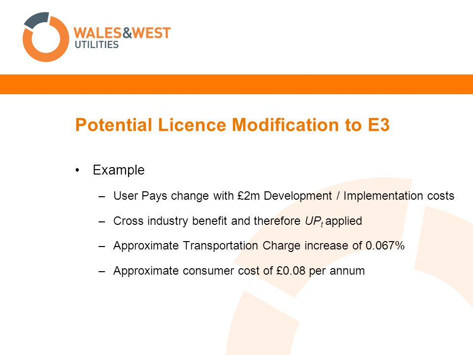 Potential Licence Modification to E3 Example –User Pays change with £2m Development / Implementation costs –Cross industry benefit and therefore UP t applied –Approximate Transportation Charge increase of 0.067% –Approximate consumer cost of £0.08 per annum