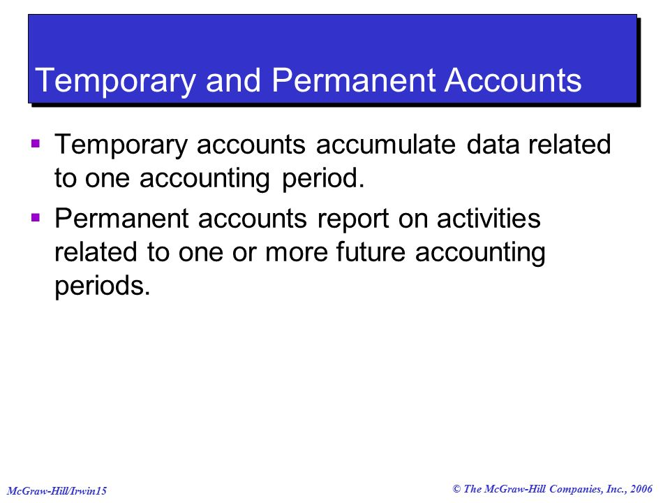 © The McGraw-Hill Companies, Inc., 2006 McGraw-Hill/Irwin15 Temporary and Permanent Accounts  Temporary accounts accumulate data related to one accounting period.