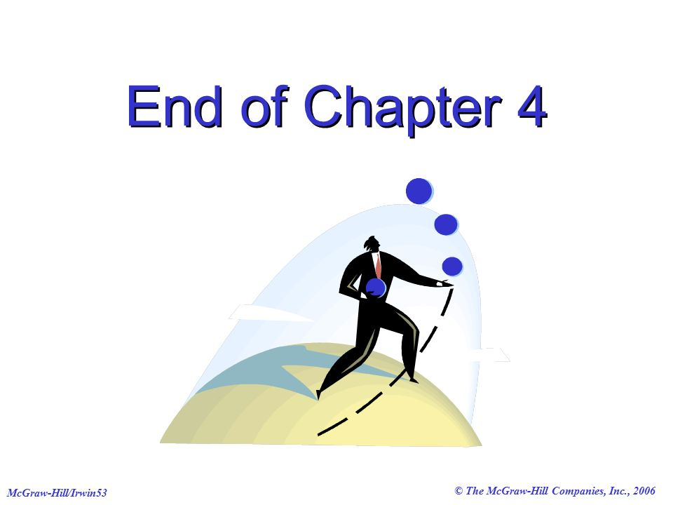 © The McGraw-Hill Companies, Inc., 2006 McGraw-Hill/Irwin53 End of Chapter 4