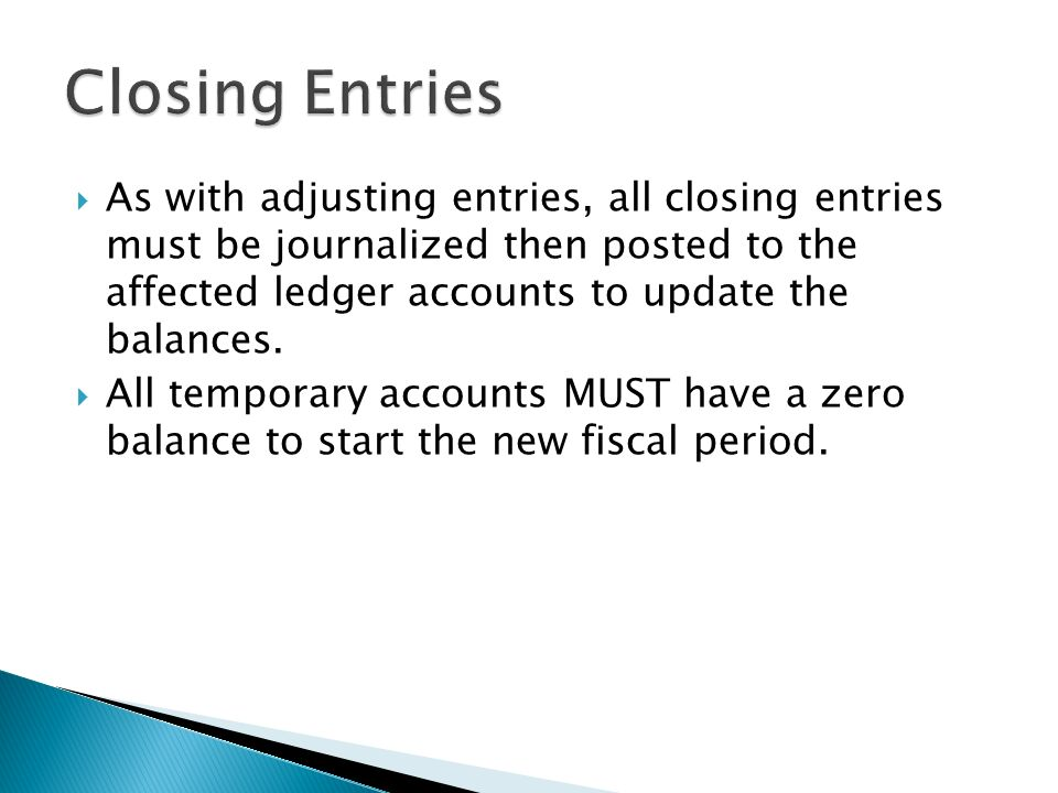 As with adjusting entries, all closing entries must be journalized then posted to the affected ledger accounts to update the balances.