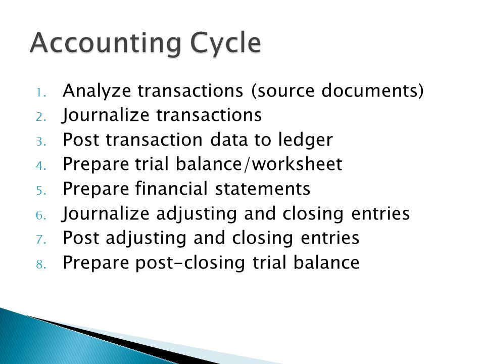 1. Analyze transactions (source documents) 2. Journalize transactions 3.