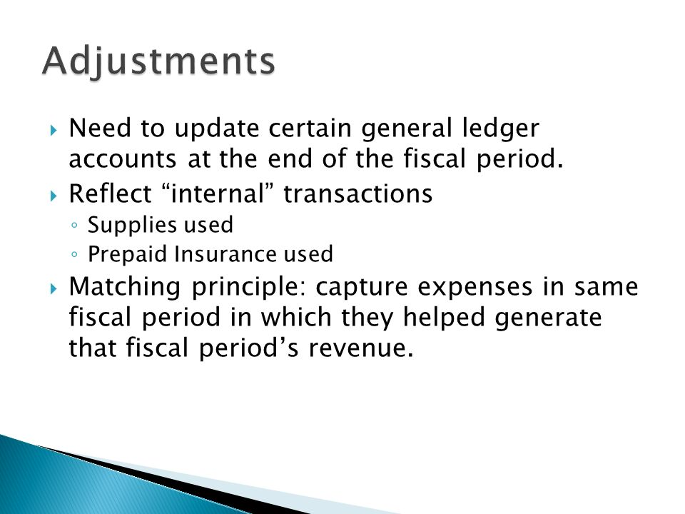  Need to update certain general ledger accounts at the end of the fiscal period.