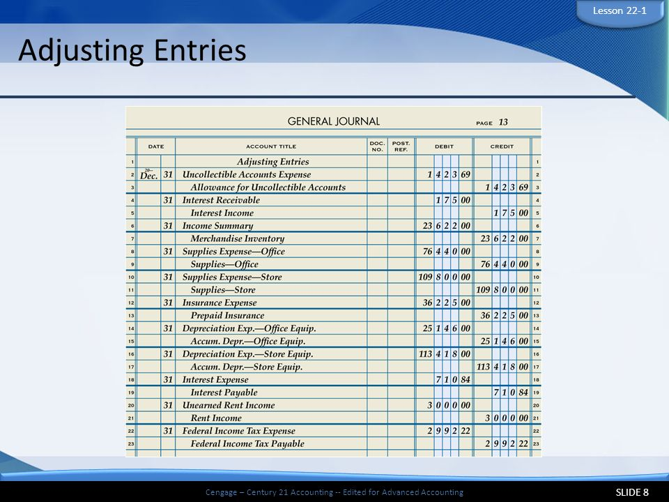 Cengage Century 21 Accounting Edited For Advanced