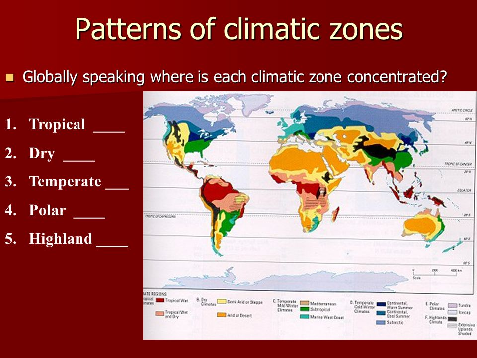 Patterns of climatic zones Globally speaking where is each climatic zone concentrated.