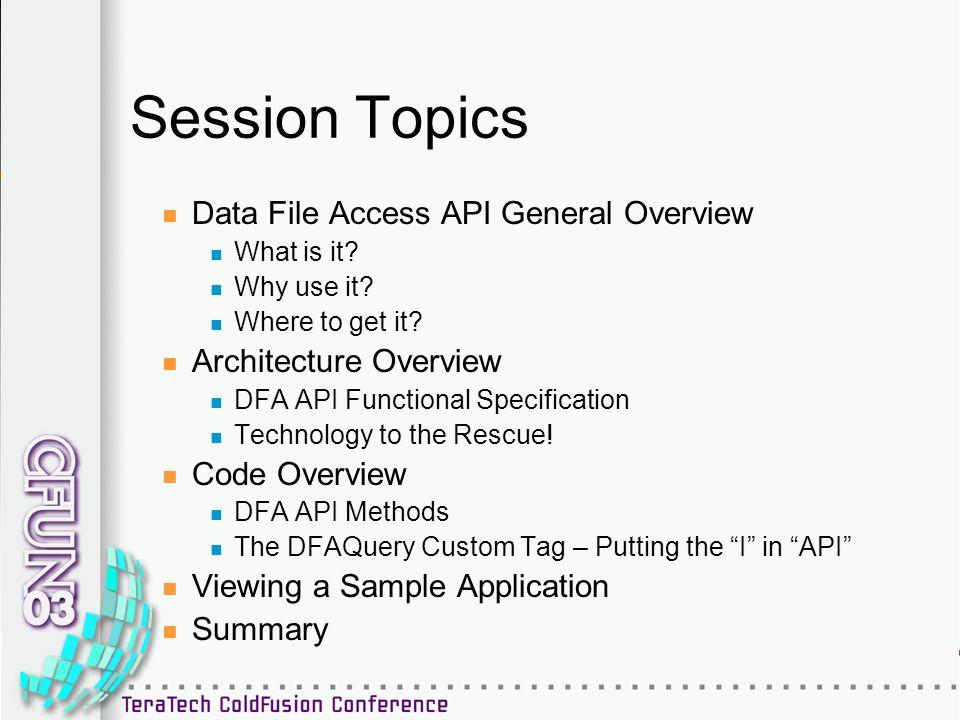 Data File Access API : Under the Hood Simon Horwith CTO