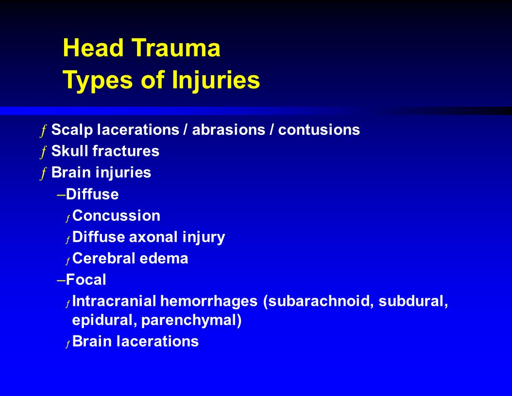 Types of head injury