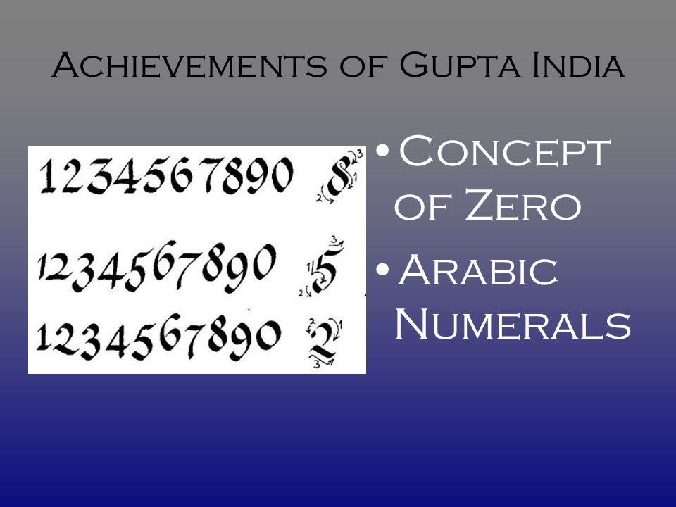 Achievements of Gupta India Concept of Zero Arabic Numerals