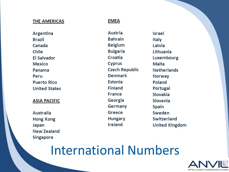 International Numbers THE AMERICAS Argentina Brazil Canada Chile El Salvador Mexico Panama Peru Puerto Rico United States ASIA PACIFIC Australia Hong Kong Japan New Zealand Singapore Israel Italy Latvia Lithuania Luxembourg Malta Netherlands Norway Poland Portugal Slovakia Slovenia Spain Sweden Switzerland United Kingdom EMEA Austria Bahrain Belgium Bulgaria Croatia Cyprus Czech Republic Denmark Estonia Finland France Georgia Germany Greece Hungary Ireland