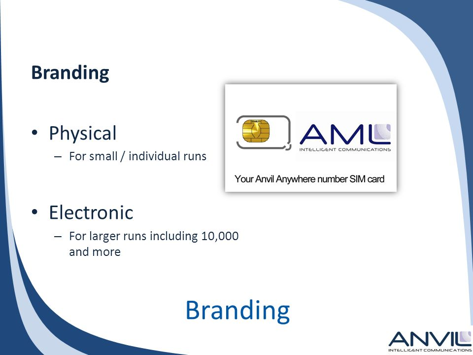 Branding Physical – For small / individual runs Electronic – For larger runs including 10,000 and more