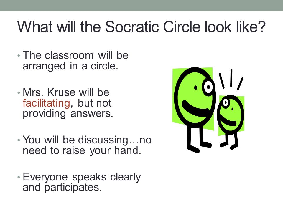 What will the Socratic Circle look like. The classroom will be arranged in a circle.