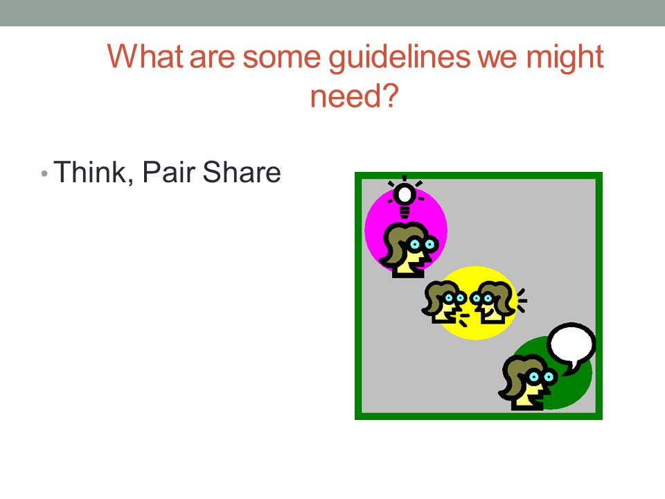 What are some guidelines we might need Think, Pair Share