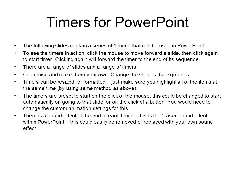 timers for powerpoint the following slides contain a series of