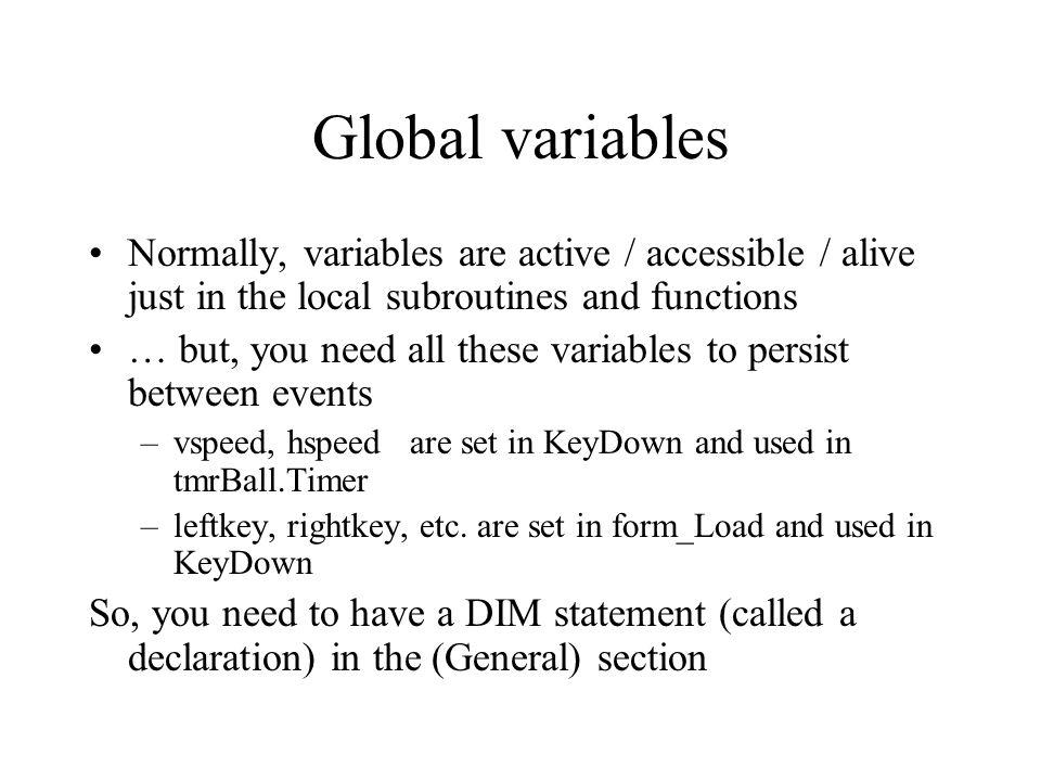 Visual Basic Games: Week 3 Global variables, parameters