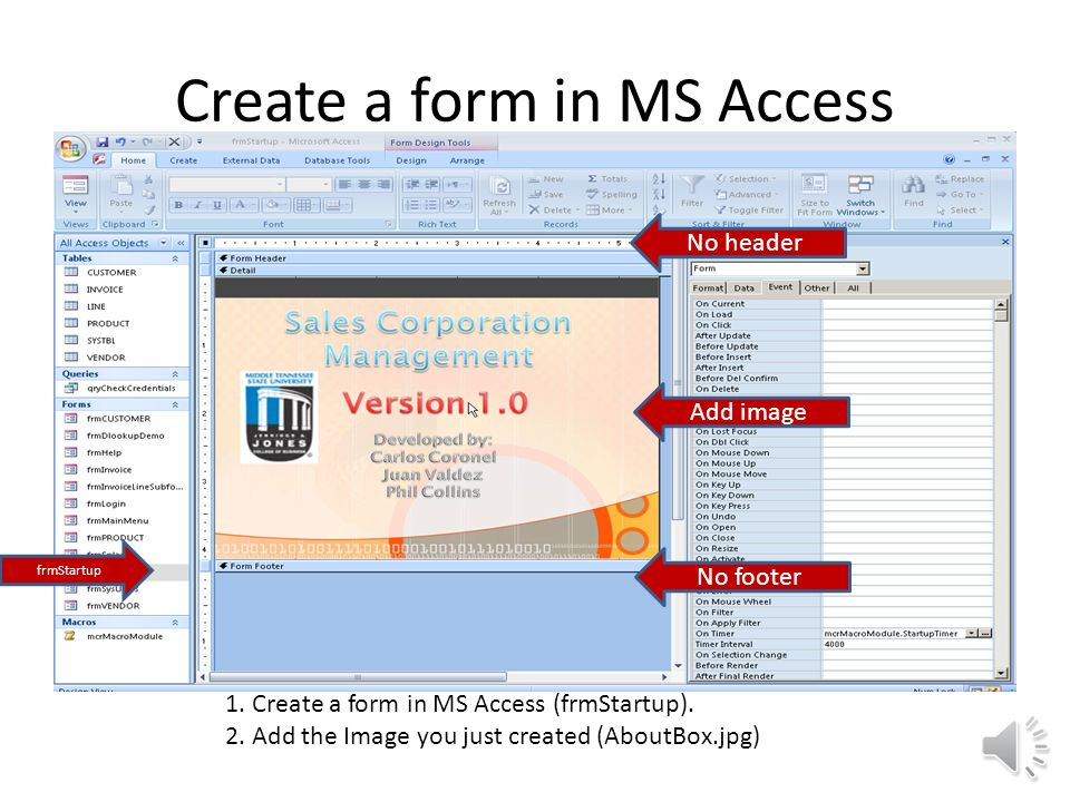 How to create a Splash Screen in MS Access Carlos Coronel