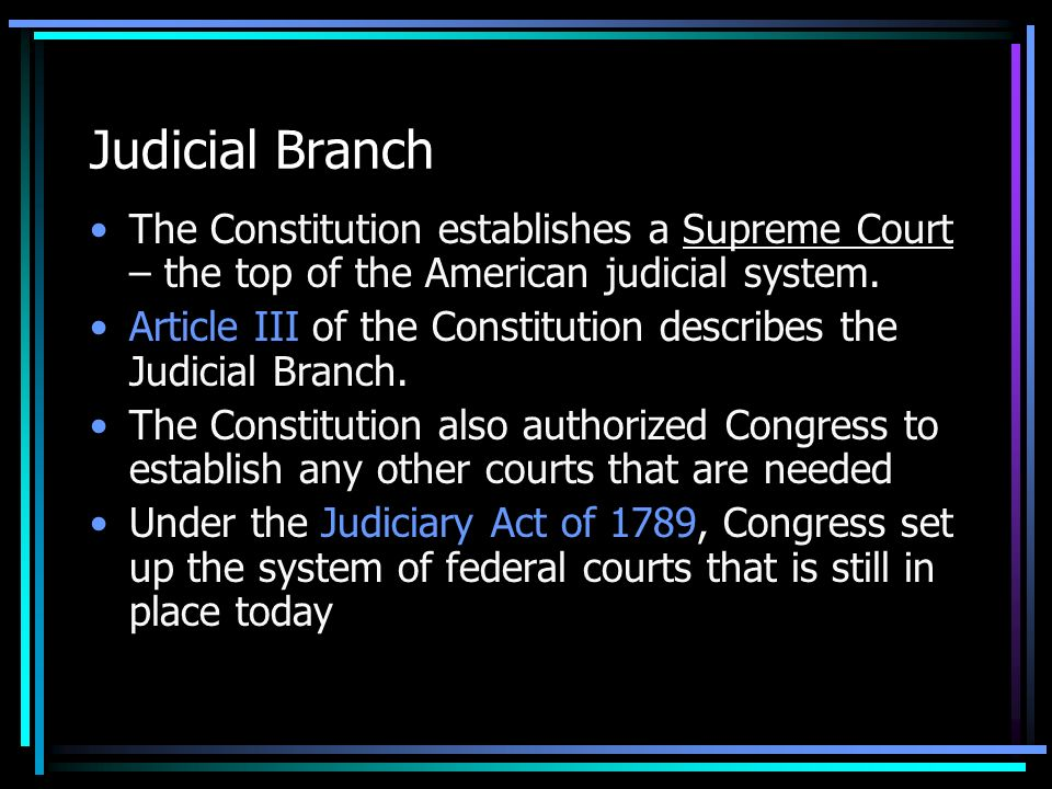 Judicial Branch The Constitution establishes a Supreme Court – the top of the American judicial system.