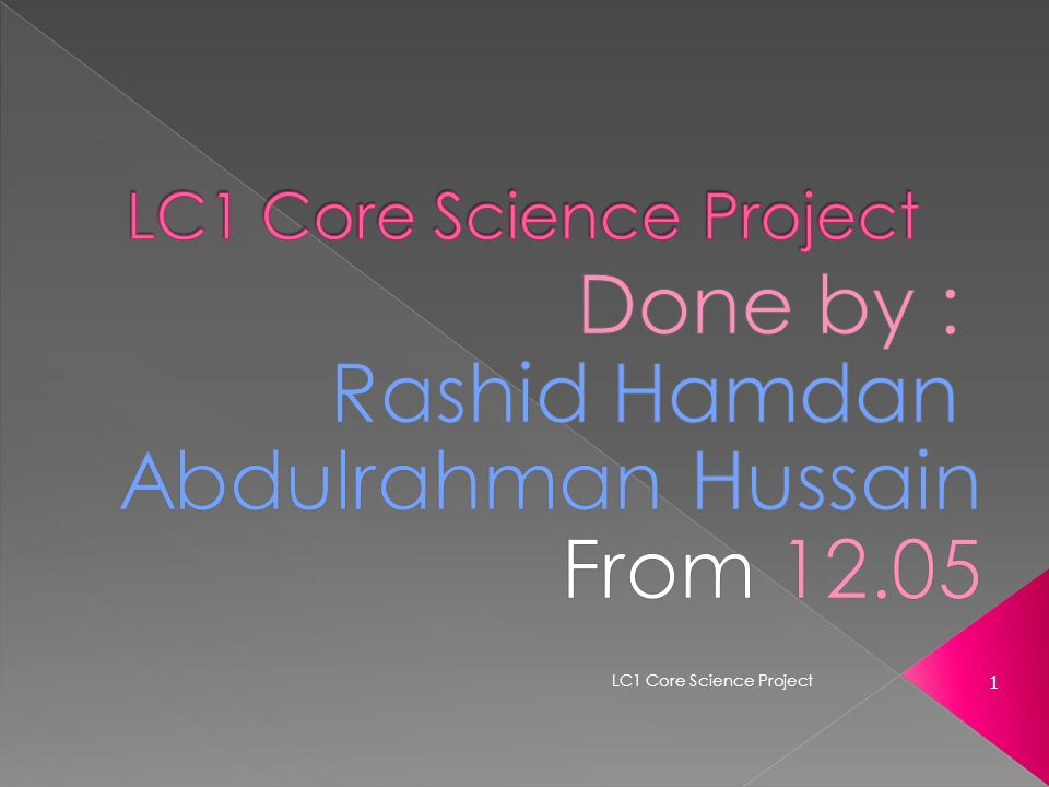 1 LC1 Core Science Project