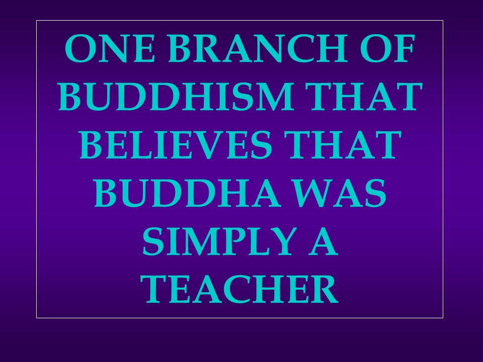 ONE BRANCH OF BUDDHISM THAT BELIEVES THAT BUDDHA WAS SIMPLY A TEACHER