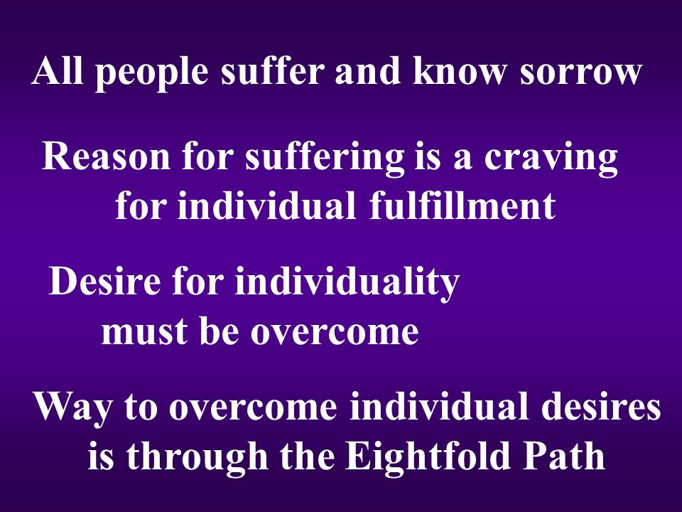 All people suffer and know sorrow Reason for suffering is a craving for individual fulfillment Desire for individuality must be overcome Way to overcome individual desires is through the Eightfold Path
